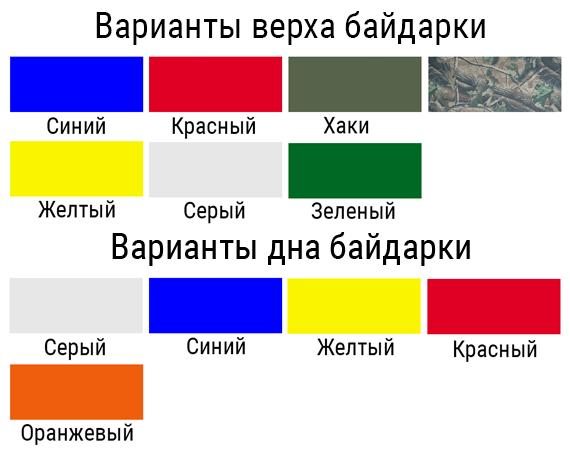 Варианты цвета байдарки